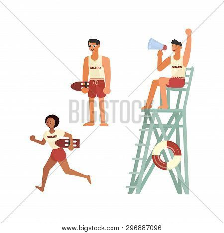 Set Of Male And Female Lifeguards, Professional Rescuer On The Beach. Flat Art Vector Illustration
