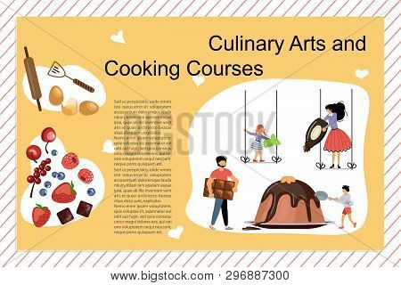 Culinary Art And Cooking Courses Poster, Banner Template. Happy Family Cooking Together A Schokolade