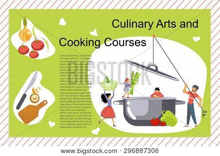 Culinary Art And Cooking Courses Poster, Banner Template. Happy Family Cooking Together A Green Soup