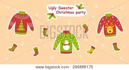 Ugly Sweater Christmas Party Colorful Vector Illustration For Web And Printing With Three Decorated