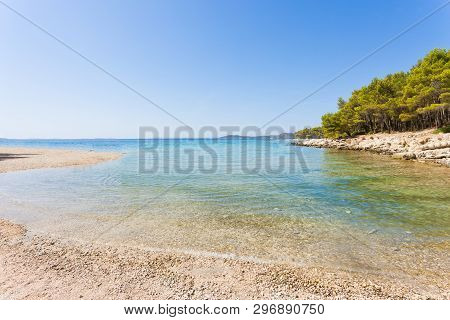 Pine Beach, Pakostane, Croatia, Europe - Calm Scenery At The Natural Beach Of Pakostane