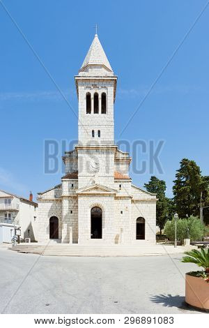 Pakostane, Croatia, Europe - Beautiful Old Steeple Architecture At Pakostane