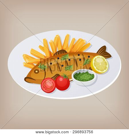 Fish And Chips With Tomatoes, Sauce And A Slice Of Lemon On A Plate. Vector Illustration