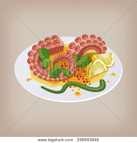 Octopus With Lemon On A Plate. Vector Illustration