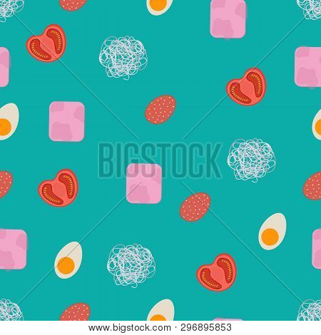 Seamless Food Pattern. Flat Food Seamless Pattern.