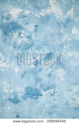 Artistic abstract oil white and blue painted background. Texture, background.