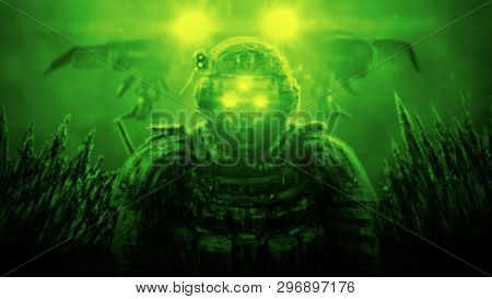 Soldier Stands Against Backdrop Of Spaceship Landing On An Alien Planet. Illustration In Science Fic