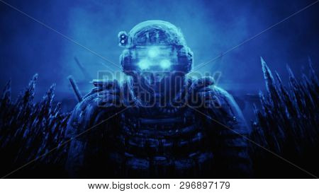 Special Forces Officer In Night Vision Device On Blue Background. Illustration In Science Fiction Ge