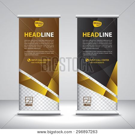 Roll Up Banner Template Vector, Banner, Stand, Exhibition Design, Advertisement, Pull Up, X-banner A