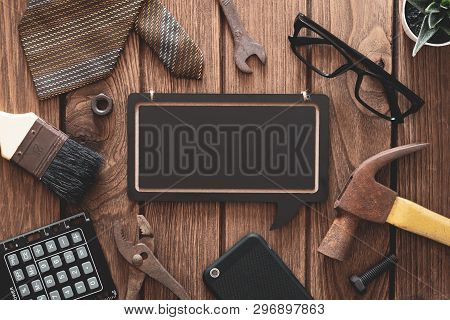Labor Day And Father's Day Background Concept. Flat Lay Of Construction Blue Collar Handy Tools And