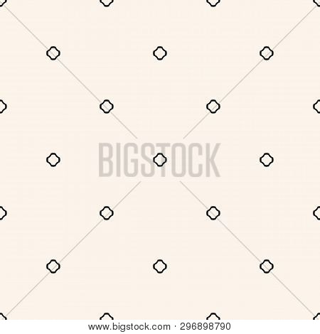 Vector Minimalist Seamless Pattern With Tiny Dots, Cross Shapes, Floral Silhouettes. Delicate Black