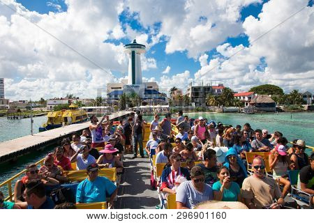 Cancun , Mexico- Nov 22, 2015: People on the ferry crossing from the Cancun port of the Isla Mujeres , Mexico.