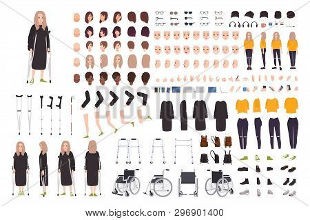 Young Woman With Crutches Constructor Or Diy Kit. Female Cartoon Character With Trauma Or Disability