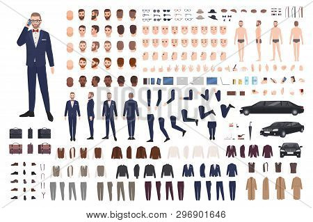 Stylish Man Dressed In Elegant Suit Creation Set Or Diy Kit. Collection Of Body Parts, Clothes, Face