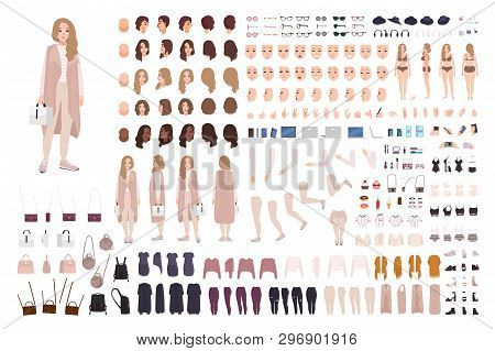 Stylish Modern Girl Animation Kit Or Diy Set. Bundle Of Body Parts, Clothes And Accessories. Trendy