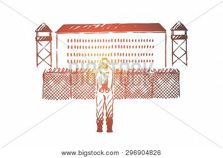 Prisoner In Handcuffs Standing Outside Jailhouse, Jail Break Attempt, Building With Metal Fence, Wat