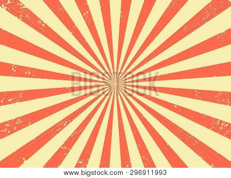 Old Retro Background With Rays And Explosion Imitation. Vintage Starburst Pattern With Bristle Textu