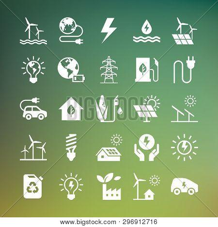 Eco Collection With Various Icons On The Theme Of Ecology And Green Energy. Isolated, Editable And S