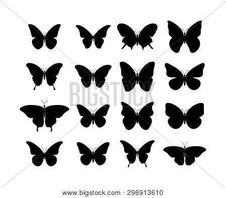 Butterfly Black Icons. Collection Black Butterflies. Isolated Black Butterflies. Butterfly Icons