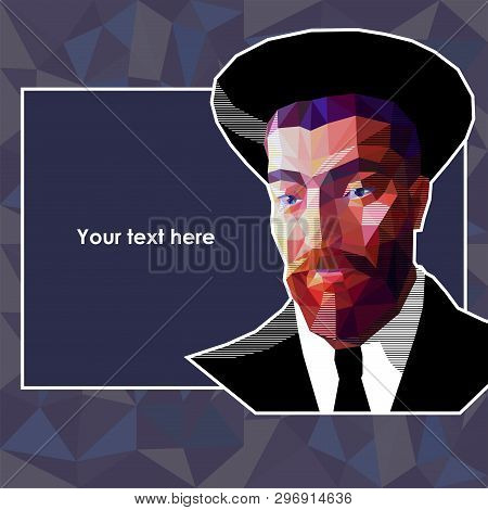 Vector Portrait Of A Young Jew In The Low Polygon Style. The Man Has A Red Beard And Wide Eyebrows.
