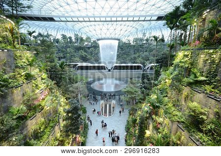 Singapore, 11 Apr, 2019: The Rain Vortex, A 40m-tall Indoor Waterfall Located Inside The Jewal Chang