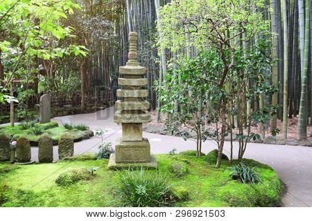 Decorative stone pagoda and bamboo garden, Hokokuji temple, Kamakura, Japan