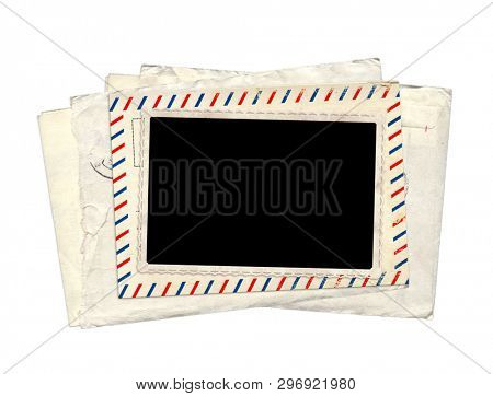 Retro photo, old postcard and vintage envelope. Isolated on white background. Copy space for text. Mockup template