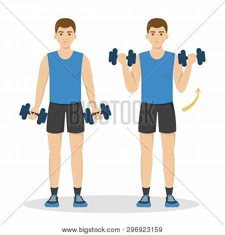 Man Doing Arm Workout. Idea Of Healthy And Active Lifestyle
