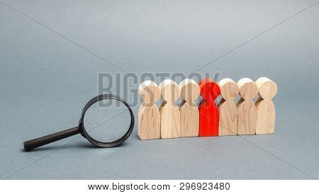 Team Of Workers And Magnifying Glass. Search For People. Attraction To Work. Human Resource Manageme
