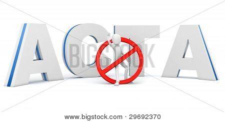 3D Man Protesting Stop Acta