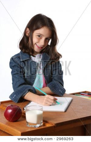 Young Girl / Child Doing Homework