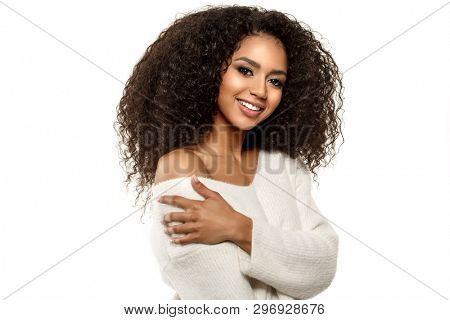 poster of Beauty black skin woman African Ethnic female face. Young african american model with long afro hair.Smiling model isolated on white background.