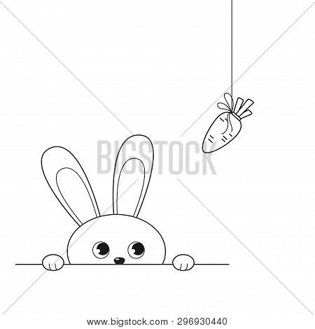 Vector Illustration Of Outline Adorable Peeking Rabbit Looking At Hanging Carrot, Isolated On White