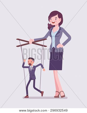 Marionette Businessman Manipulated And Controlled By Female Puppeteer. Unhappy Obedient Male Manager