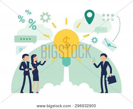 Startup Business Investment. Male, Female Managers Put Money For Profit Into Project, Newly Establis