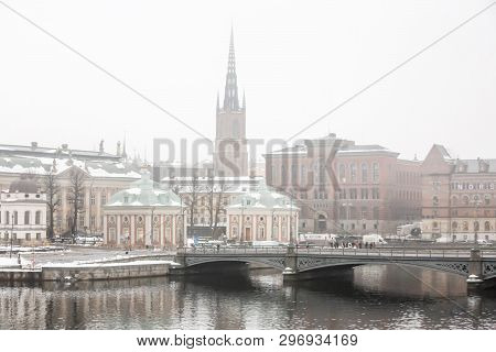 Stockholm, Sweden - Nov 14, 2016: Winter View Of The Old Town (gamla Stan), Until 1980 Officially St