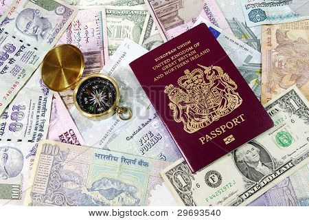 UK Passport and Compass on Travel Money