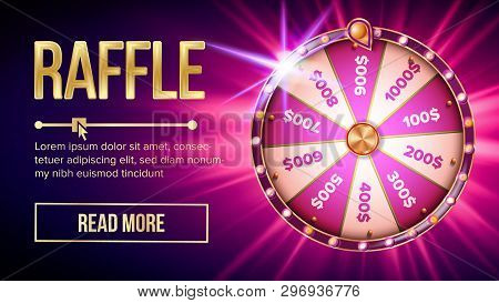 Internet Raffle Roulette Fortune Banner Vector. Shiny Raffle Casino Spinning Wheel For Game And Win