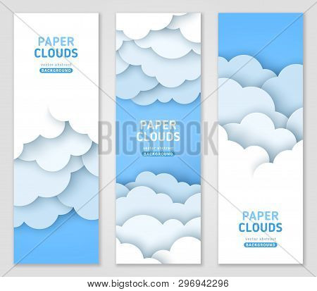 Clouds 3d Vector Banner Template Set. Papercut Abstract Vertical Posters Pack. Origami Sky Backdrop.
