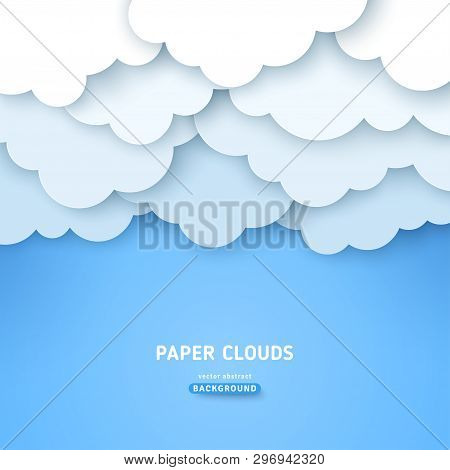 Cloudy Volumetric Banner Template. Papercut Cloudscape With Text Space. Blue Sky Background With Ove