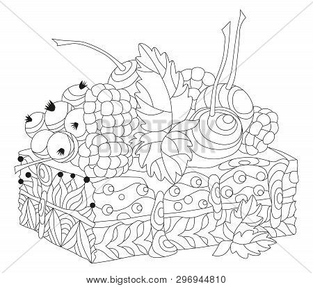 Vector Piece Of Cake With Abstract Ornaments. Hand Drawn Illustration For Coloring Book For Adult In
