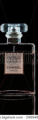 Chanel Perfume Bottle Isolated On Black Background.