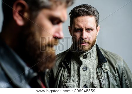 Barber And Beard Grooming. Masculine Men With Well Groomed Beard. Masculinity And Brutal Appearance.