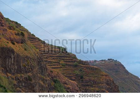 Mountains Peak Against Cloudy Sky In Calheta On Portuguese Island Of Madeira