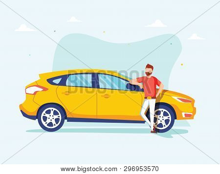 Happy Successful Man Is Standing Next To A Yellow Car On A Background. Vector Illustration In Cartoo