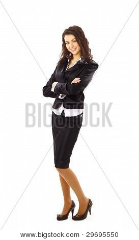 Modern business woman smiling and looking full length portrait isolated on white background.