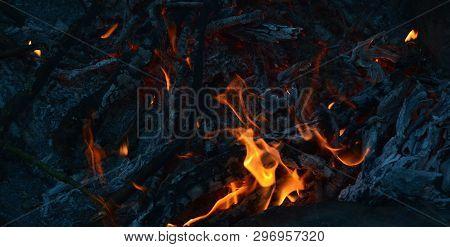 Hot Coals In An Outdoor Fireplace. South Bohemia, Czech Republic