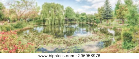 Defocused Background With An Idillic Small Pond In The Forest. Intentionally Blurred Post Production