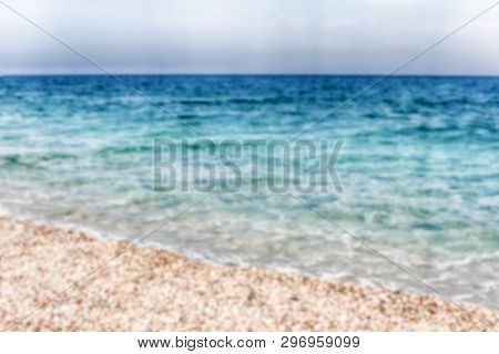 Defocused Background Of A Scenic Beach On The Thyrrenian Coastline In Calabria, Italy. Intentionally