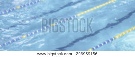 Defocused Background With Aerial View Of A Swimming Pool With Dividers. Intentionally Blurred Post P